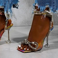 Women's Wedding Shoes Transparent Sandals Triangle Shoes Ankle Buckles Belts High Heels