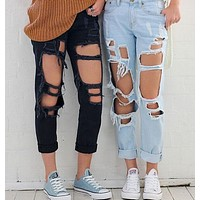 Stylish Rip Hole High Waist Denim Jeans
