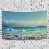 Ocean Sea Wave Tapestry Seychelles Beach in Sunset Time Navy Blue White Home Decor Seaside Wall Hanging