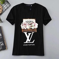 LV Louis Vuitton Summer Popular Women Casual Flower Series Print Short Sleeve T-Shirt Top Black