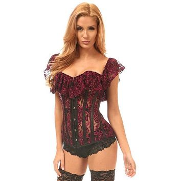 Daisy Corsets Lavish Black & Fuchsia Sheer Lace Off-The-Shoulder Corset