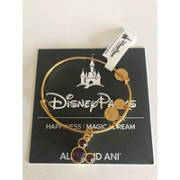 Dinsye Alex and Ani Mickey Mouse Birthstone Bangle February Gold Finish New