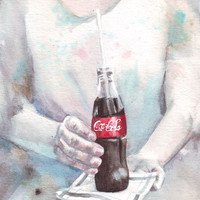 Original watercolor art Hands with Coke painting