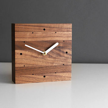 Handcrafted 5.5 in. square desk clock walnut wood with brushed aluminum silver hands