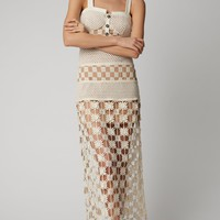 White Crochet Lace Cutout Midi Dress
