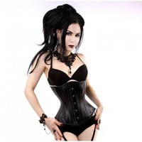 Black Leather Hourglass Corset