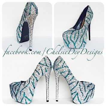 Zebra Glitter High Heels, Teal Striped Platform Prom Pumps