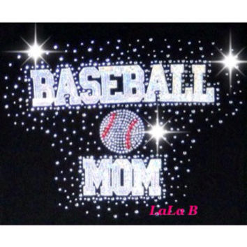 Baseball Mom Iron on Rhinestone Transfer - hotfix DIY shirts t-shirts and tees hot fix heat appliqué custom