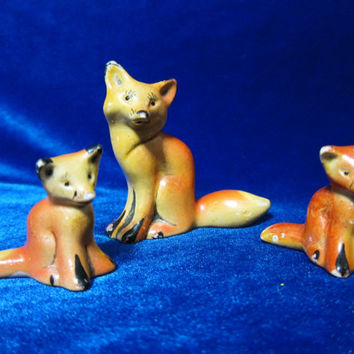 VINTAGE ceramic Figurine Soviet   fox 3 pcs ussr  russian antique