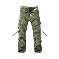 Fashion Mens Work Trousers Military Army Cargo Camo Combat Multi-pocket Pants   Grass green