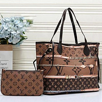 Louis Vuitton LV Women Leather Tote Handbag Shoulder Bag Purse Wallet Set Two Piece
