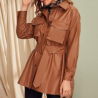 Brown Flap Pocket Front Faux Leather Belted Coat Women Solid Long Sleeve Casual Outwear PU Coats