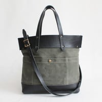 Fold Over Tote - Olive and Black