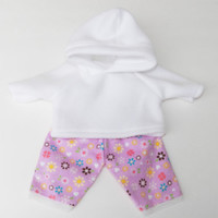 """Clothes White Hoodie & Lavender Flower Flannel Pants Handmade For Bitty Baby 15"""""""