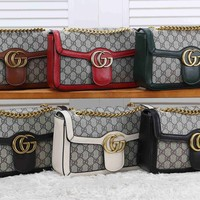 """Gucci"" Fashion Multicolor Stripe Double G Logo Metal Chain Single Shoulder Messenger Bag Women Clutch Double Layer Flip Small Square Bag"