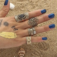 Gift Jewelry New Arrival Stylish Shiny Diamonds Alloy Hollow Out Vintage Gemstone Palace Ring [11762571599]