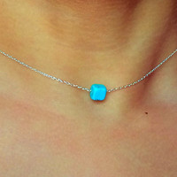 simple turquoise Necklace / layering Necklace / Charm Necklace / Choker / great for layering