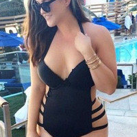 Plus Size Cut Out One Piece Swimsuit