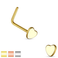 316L Surgical Steel Small Heart L Shape Nose Ring Pin
