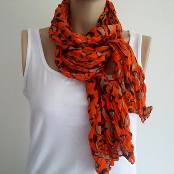 Scarf, Women's Scarves, Orange Scarves, Boho, Long Scarves, Cotton Scarves, Loop Scarf, Women's Clothing, Gift Scarf, Women's Accessories