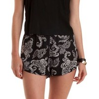 Black/White High-Waisted Paisley Dolphin Shorts by Charlotte Russe