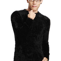 Solid Thermal Mohair Knit Long Sleeves Sweater