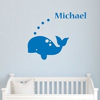 Wall Decals Custom Personalized Name Decal Whale Vinyl Sticker Boy Bedroom Nursery Baby Room Home Decor Ms36