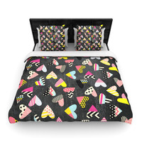 """Louise Machado """"Pieces of Heart"""" Pink Yellow Woven Duvet Cover"""