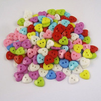 Multicolored Hearts Plastic Buttons/Two Holes Buttons/ Sewing Supplies/DIY Craft supplies /Novelty Buttons