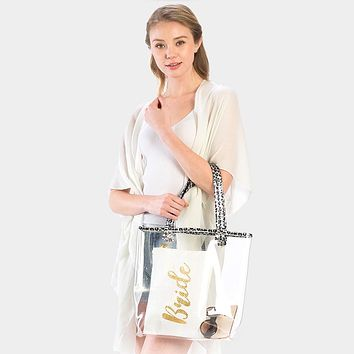 Clear Leopard Trim Tote Bag