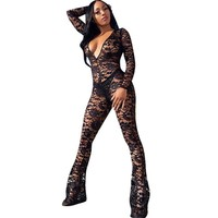 Women Floral Black Lace Bodycon Jumpsuit Romper Sexy Deep V-neck Mesh See-through Long Sleeve Jumpsuit Flare Pants Club Overalls