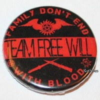 """Licensed cool CW SUPERNATURAL TEAM  WILL Family Blood 1 1/4"""" Button Pin Back Pinback NEW"""