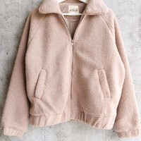 final sale - solid faux fur teddy sherpa zip up jacket - taupe