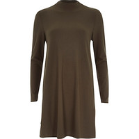 River Island Womens Khaki long sleeve textured swing dress