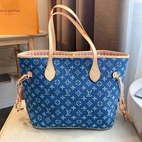 Louis Vuitton LV New Women's Denim Printed Letter Gold Shopping Tote Bag Shoulder Bag