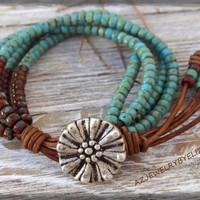Elizabeth's Original Design Seed Bead Leather Wrap Bracelet/ Seed Bead  Bracelet/ Beaded Leather Wrap/ Leather Bracelet/ Boho Wrap Bracelet.