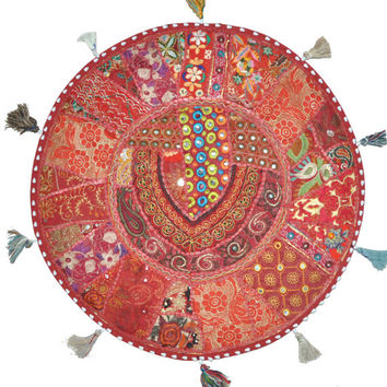 """17"""" Patchwork Round Floor Pillow Cushion in Red round embroidered Bohemian Patchwork floor cushion pouf Vintage Indian Foot Stool ottoman"""