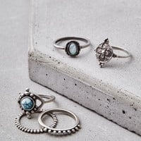 AEO Silver Turquoise Ring 5-Pack, Silver
