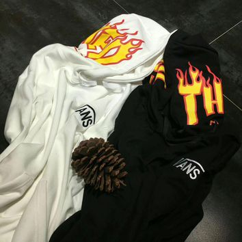 Vans x Thrasher Pullover Hoodie Flame joint paragraph sweater