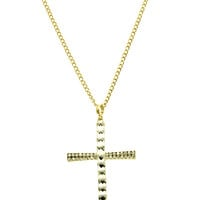 NECKLACE / PAVE CRYSTAL STONE / CROSS PENDANT / GLASS BEAD / METAL SETTING / LINK / CHAIN / 28 INCH LONG / 3 1/2 INCH DROP / NICKEL AND LEAD COMPLIANT