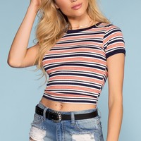 Brandy Stripe Crop Top