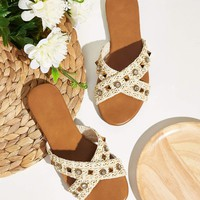 Studded Decor Cross Strap Flat Mules