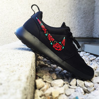 Nike Roshe Custom Design, Floral Design, Roses, Hand Painted, Gold Speckles, Red and Gold with Teal Accent, Custom Roshe Run, women and men