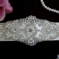 Ivory Wedding Bridal Sash Belt Bridesmaids Heirloom Crystal Rhinestone Pearl Beaded Applique Custom Colors