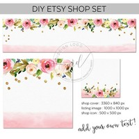 DIY Etsy banners, shop icon and listing images for small business branding with floral poisies and gold confetti, shop banner download