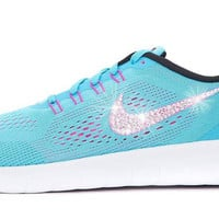 Women's Nike Free 5.0 RN - Customized with Swarovski Crystals - Blue