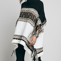 Turtleneck Color Block Fringed Poncho
