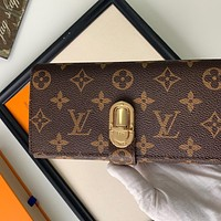 Hipgirls Louis Vuitton LV new classic printed stitching gold buckle men and women long wallet