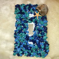 Shades of Blue Light Switch Cover With Shells and Starfish, Beach Home Decor