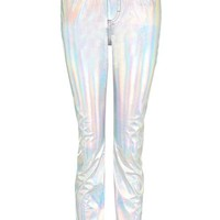 MOTO Holographic Silver Straight Leg Jeans - Jeans - Clothing